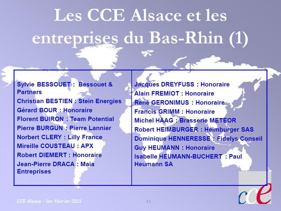 CCE Alsace - 1er février 2011 13 Les CCE Alsace et les entreprises du Bas-Rhin (1) Sylvie BESSOUET : Bessouet & Partners Christian BESTIEN : Stein Ene