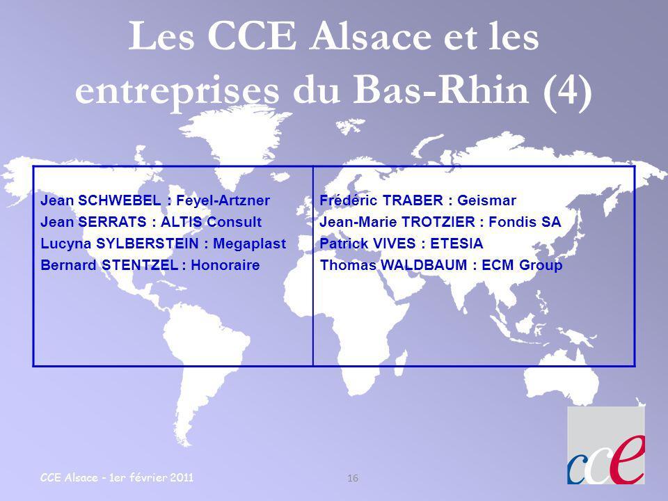 CCE Alsace - 1er février 2011 16 Les CCE Alsace et les entreprises du Bas-Rhin (4) Jean SCHWEBEL : Feyel-Artzner Jean SERRATS : ALTIS Consult Lucyna S