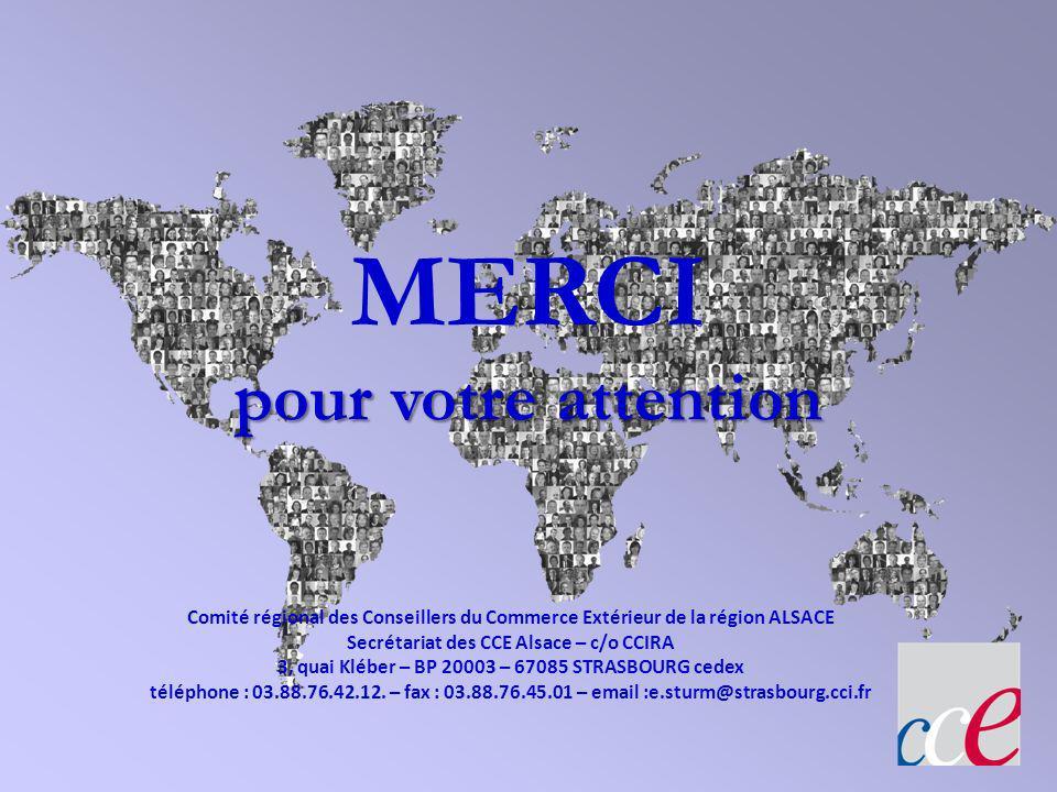 pour votre attention MERCI pour votre attention Comité régional des Conseillers du Commerce Extérieur de la région ALSACE Secrétariat des CCE Alsace –