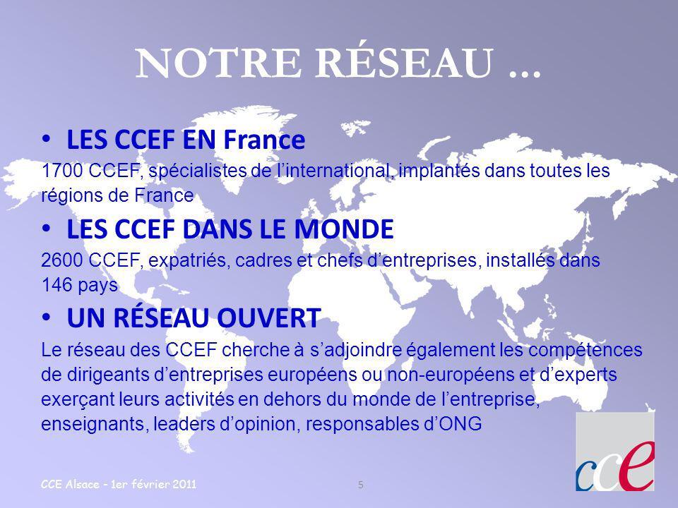 CCE Alsace - 1er février 2011 5 NOTRE RÉSEAU... LES CCEF EN France 1700 CCEF, spécialistes de linternational, implantés dans toutes les régions de Fra