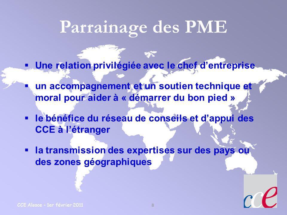 CCE Alsace - 1er février 2011 8 Parrainage des PME Une relation privilégiée avec le chef dentreprise un accompagnement et un soutien technique et mora