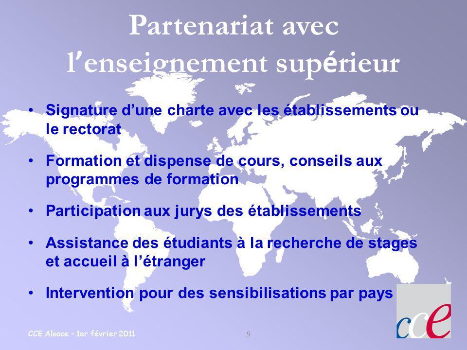 CCE Alsace - 1er février 2011 9 Partenariat avec l enseignement sup é rieur Signature dune charte avec les établissements ou le rectorat Formation et