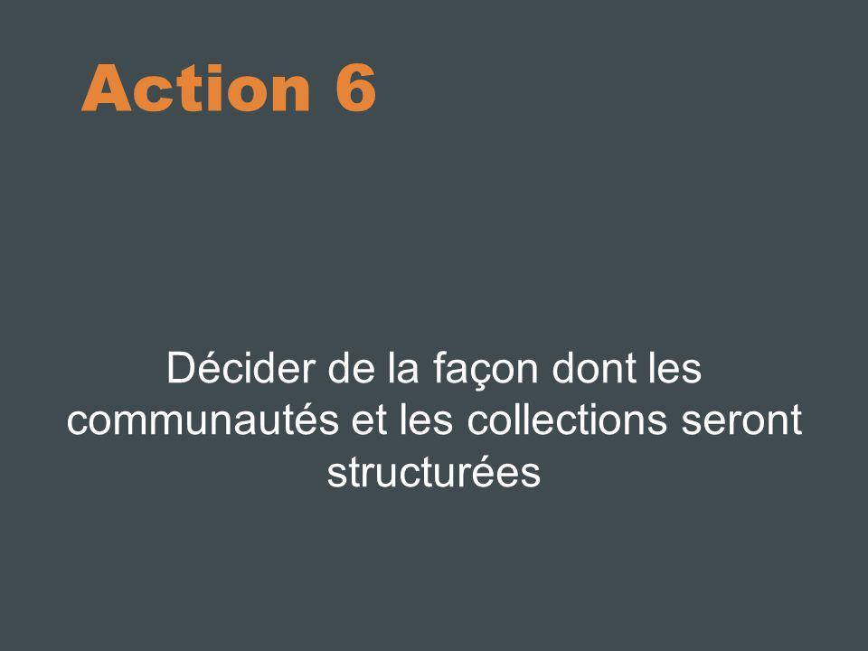 Action 6 Décider de la façon dont les communautés et les collections seront structurées