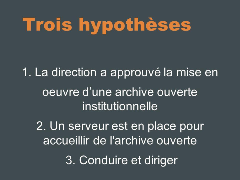Trois hypothèses 1. La direction a approuvé la mise en oeuvre dune archive ouverte institutionnelle 2. Un serveur est en place pour accueillir de l'ar