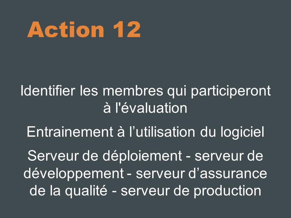 Action 12 Identifier les membres qui participeront à l évaluation Entrainement à lutilisation du logiciel Serveur de déploiement - serveur de développement - serveur dassurance de la qualité - serveur de production