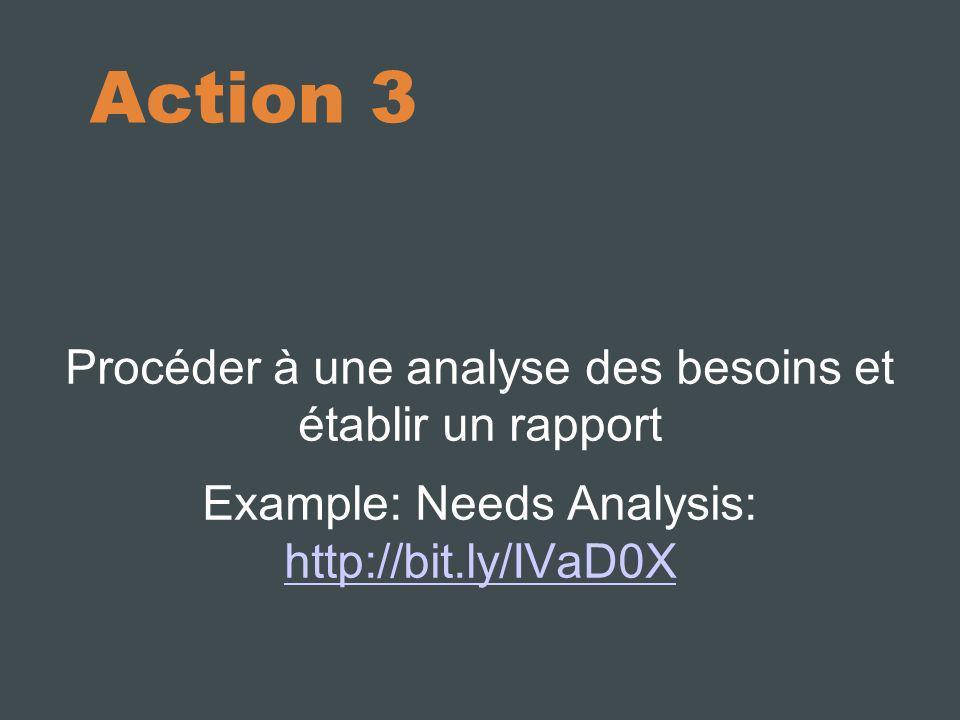 Action 9 Compiler un business plan et le présenter à la direction Example: Proposal http://bit.ly/KbvJV3http://bit.ly/KbvJV3 Example: Business Plan http://bit.ly/IQ4LBghttp://bit.ly/IQ4LBg Example: Implementation Timeline http://bit.ly/oysMEX http://bit.ly/oysMEX
