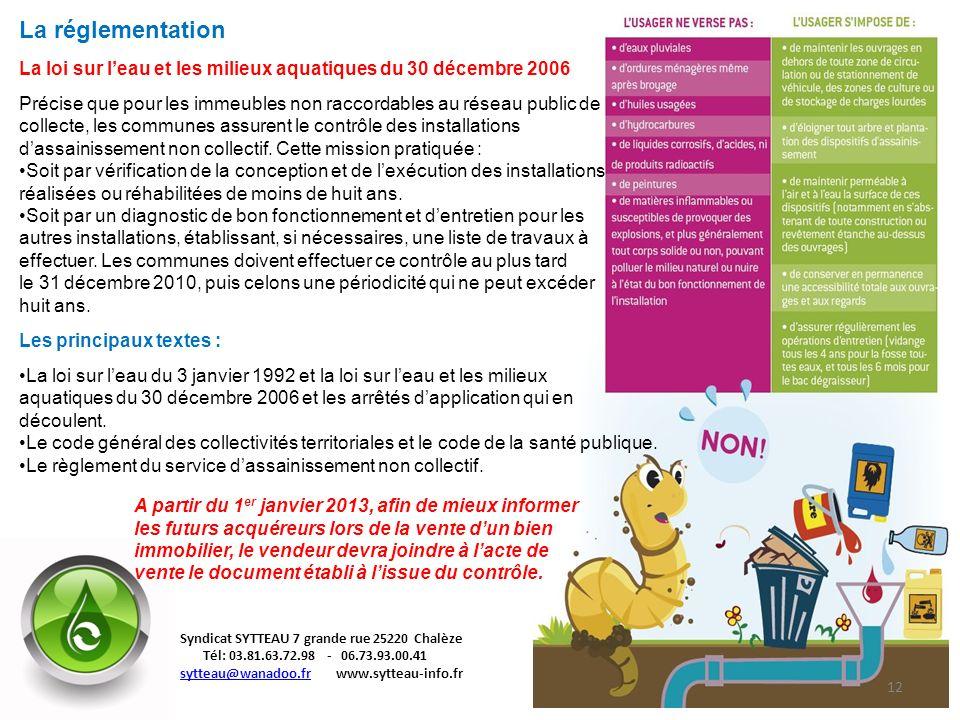 La réglementation La loi sur leau et les milieux aquatiques du 30 décembre 2006 Précise que pour les immeubles non raccordables au réseau public de co