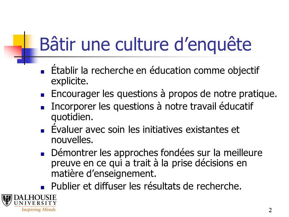 2 Bâtir une culture denquête Établir la recherche en éducation comme objectif explicite.