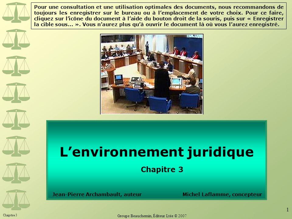 Chapitre 3 Groupe Beauchemin, Éditeur Ltée © 2007 1 Lenvironnement juridique Chapitre 3 Jean-Pierre Archambault, auteur Michel Laflamme, concepteur Po