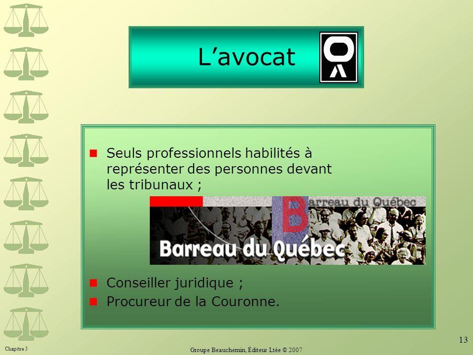 Chapitre 3 Groupe Beauchemin, Éditeur Ltée © 2007 13 Lavocat Seuls professionnels habilités à représenter des personnes devant les tribunaux ; Conseil