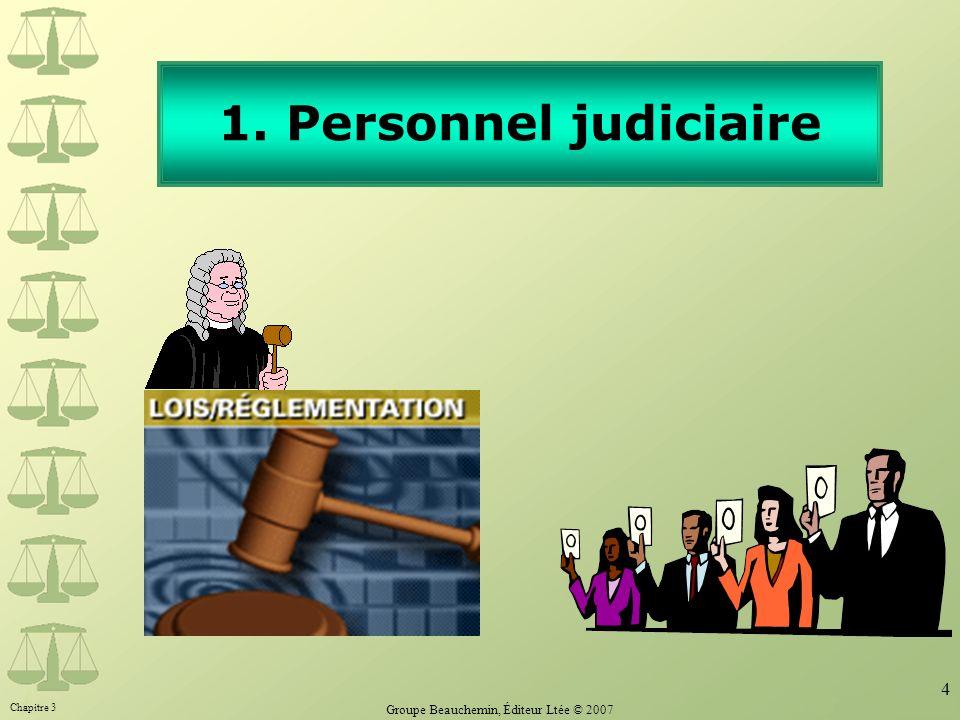Chapitre 3 Groupe Beauchemin, Éditeur Ltée © 2007 4 1. Personnel judiciaire