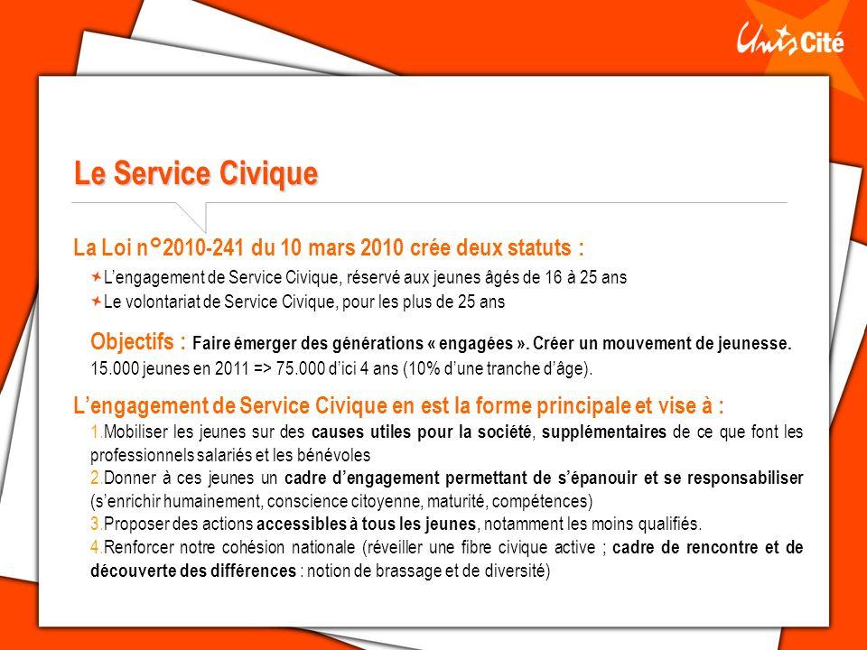 Le Service Civique La Loi n°2010-241 du 10 mars 2010 crée deux statuts : Lengagement de Service Civique, réservé aux jeunes âgés de 16 à 25 ans Le volontariat de Service Civique, pour les plus de 25 ans Objectifs : Faire émerger des générations « engagées ».