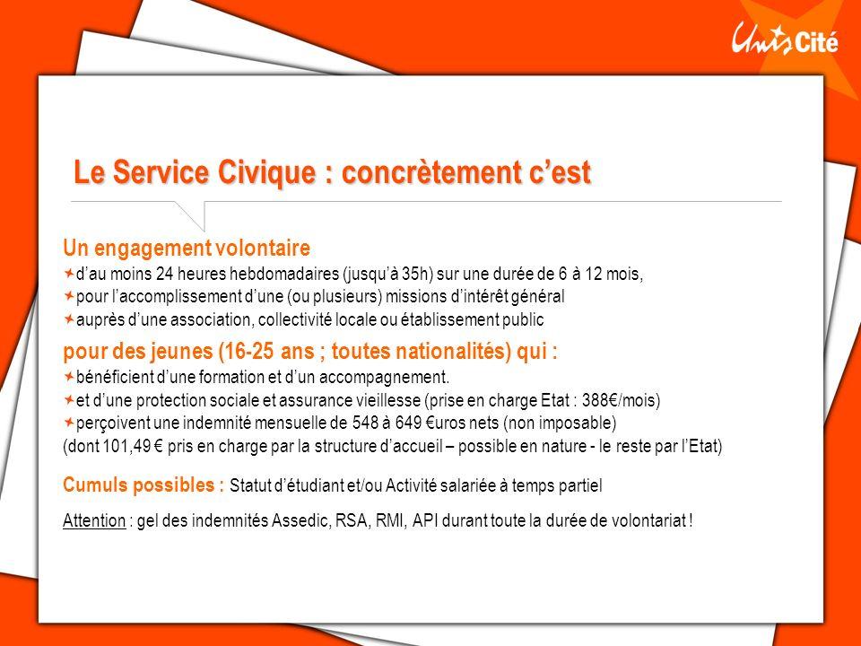 Le Service Civique : concrètement cest Un engagement volontaire dau moins 24 heures hebdomadaires (jusquà 35h) sur une durée de 6 à 12 mois, pour lacc