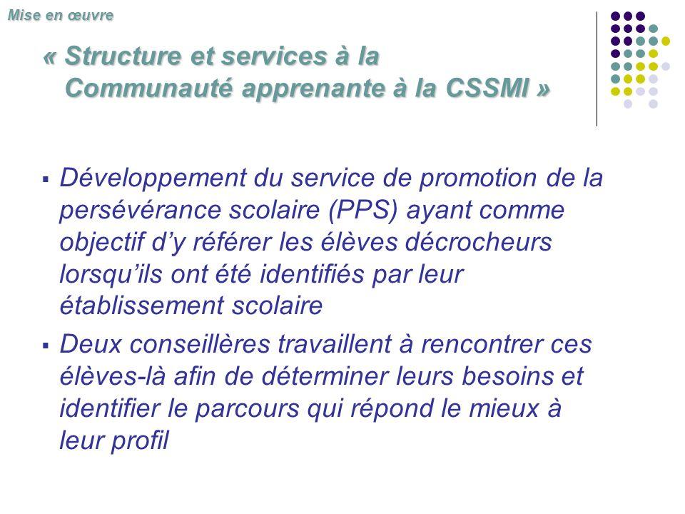 « Structure et services à la Communauté apprenante à la CSSMI » Développement du service de promotion de la persévérance scolaire (PPS) ayant comme ob