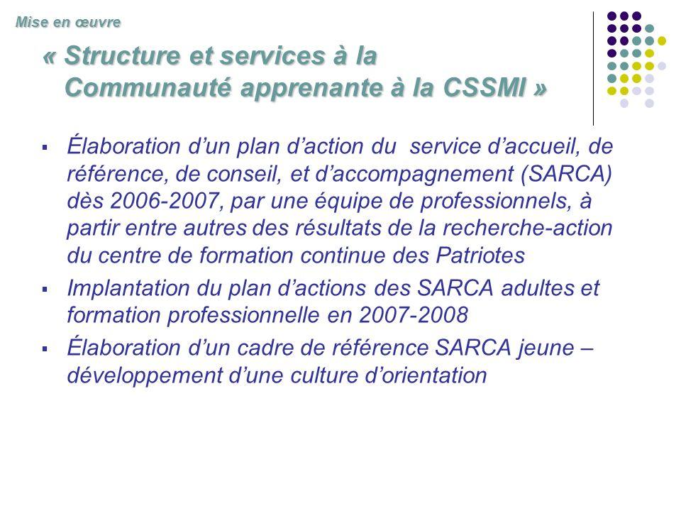 « Structure et services à la Communauté apprenante à la CSSMI » Élaboration dun plan daction du service daccueil, de référence, de conseil, et daccomp