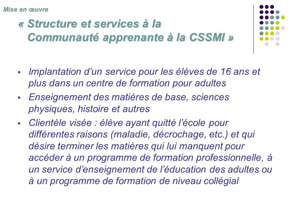« Structure et services à la Communauté apprenante à la CSSMI » Implantation dun service pour les élèves de 16 ans et plus dans un centre de formation