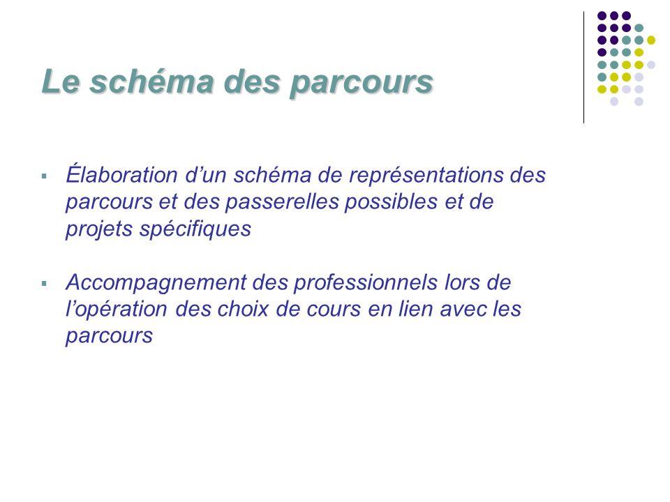 Le schéma des parcours Élaboration dun schéma de représentations des parcours et des passerelles possibles et de projets spécifiques Accompagnement des professionnels lors de lopération des choix de cours en lien avec les parcours