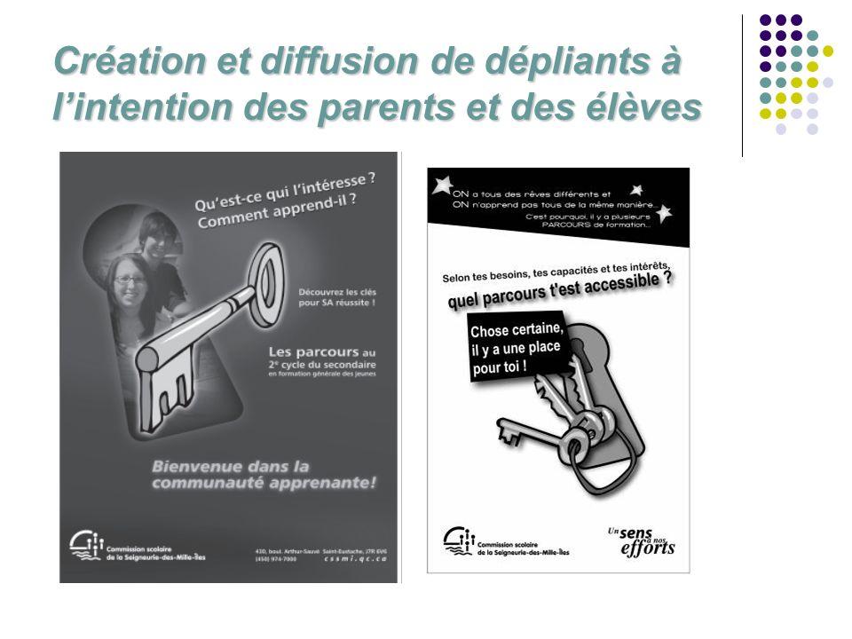 Création et diffusion de dépliants à lintention des parents et des élèves