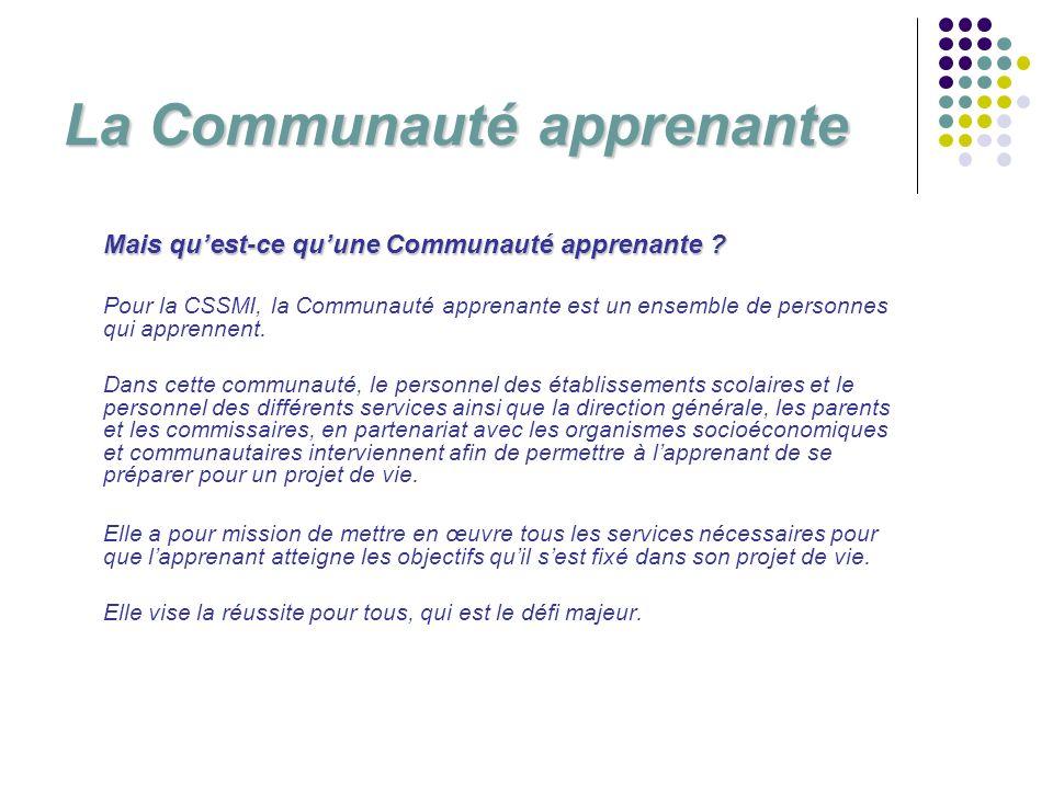 Mais quest-ce quune Communauté apprenante ? Pour la CSSMI, la Communauté apprenante est un ensemble de personnes qui apprennent. Dans cette communauté