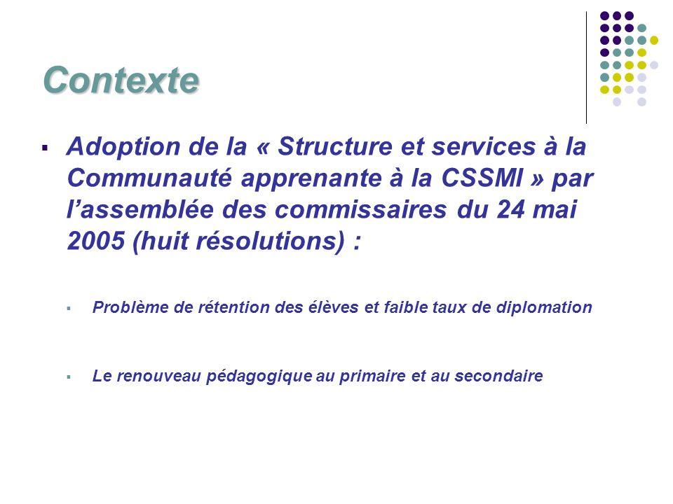 Contexte Adoption de la « Structure et services à la Communauté apprenante à la CSSMI » par lassemblée des commissaires du 24 mai 2005 (huit résolutio