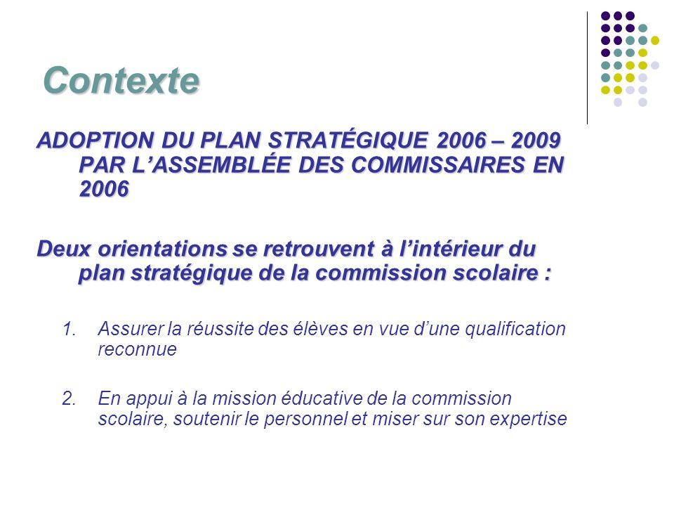 Contexte ADOPTION DU PLAN STRATÉGIQUE 2006 – 2009 PAR LASSEMBLÉE DES COMMISSAIRES EN 2006 Deux orientations se retrouvent à lintérieur du plan stratég