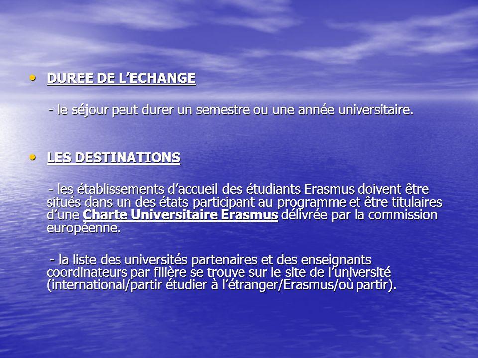 DUREE DE LECHANGE DUREE DE LECHANGE - le séjour peut durer un semestre ou une année universitaire. - le séjour peut durer un semestre ou une année uni