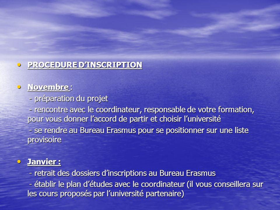 PROCEDURE DINSCRIPTION PROCEDURE DINSCRIPTION Novembre : Novembre : - préparation du projet - préparation du projet - rencontre avec le coordinateur,