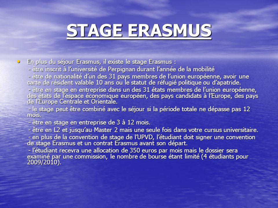 STAGE ERASMUS En plus du séjour Erasmus, il existe le stage Erasmus : En plus du séjour Erasmus, il existe le stage Erasmus : - être inscrit à luniver