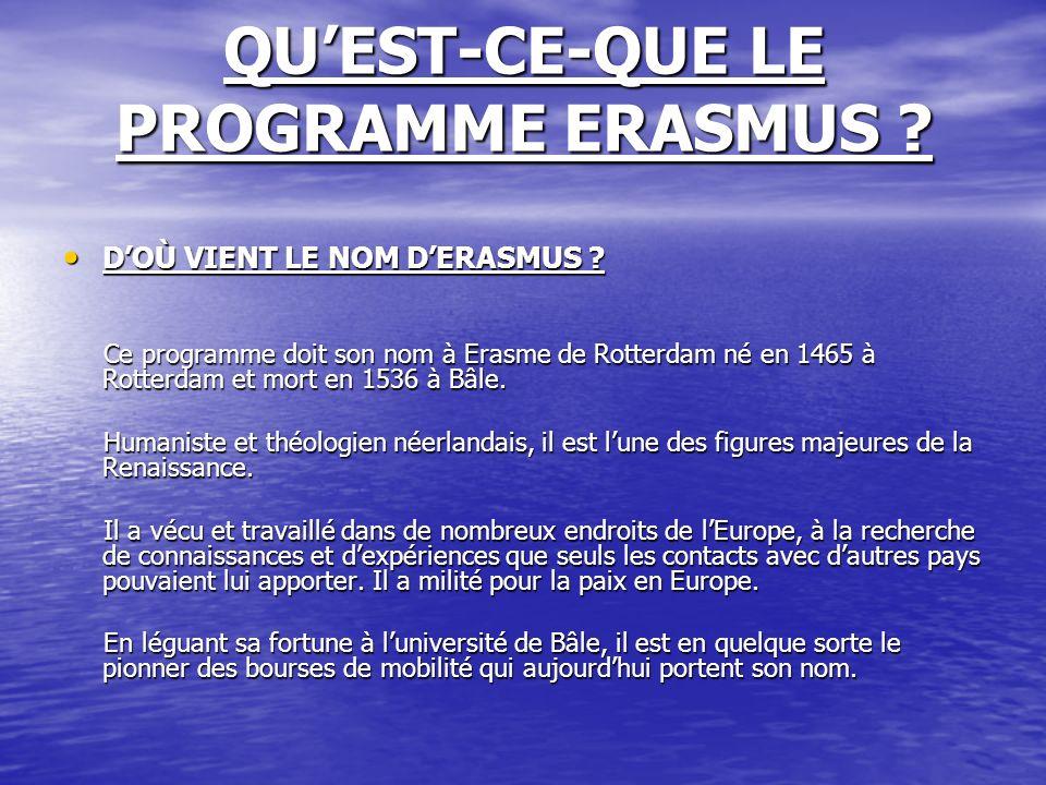 QUEST-CE-QUE LE PROGRAMME ERASMUS ? DOÙ VIENT LE NOM DERASMUS ? DOÙ VIENT LE NOM DERASMUS ? Ce programme doit son nom à Erasme de Rotterdam né en 1465