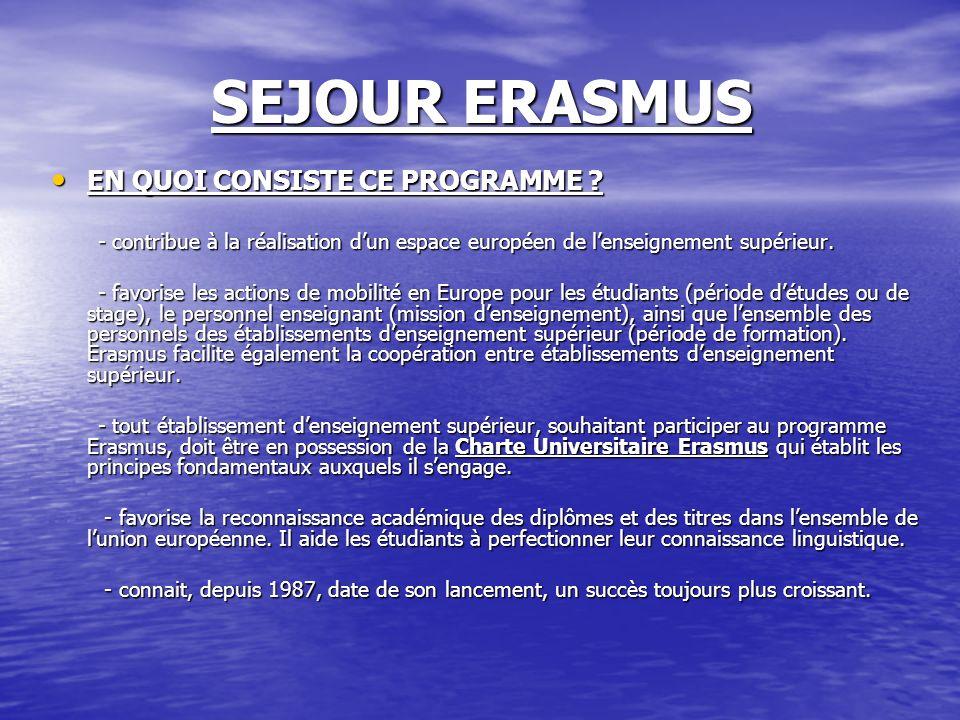 SEJOUR ERASMUS EN QUOI CONSISTE CE PROGRAMME ? EN QUOI CONSISTE CE PROGRAMME ? - contribue à la réalisation dun espace européen de lenseignement supér