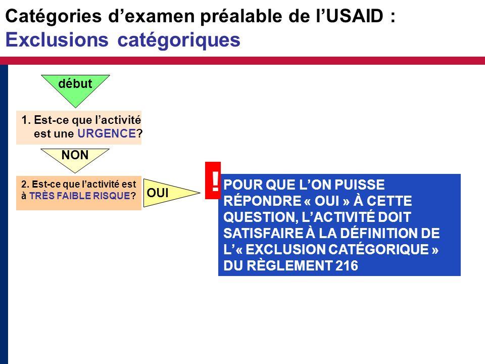 Catégories dexamen préalable de lUSAID : Exclusions catégoriques 1. Est-ce que lactivité est une URGENCE? NON 2. Est-ce que lactivité est à TRÈS FAIBL