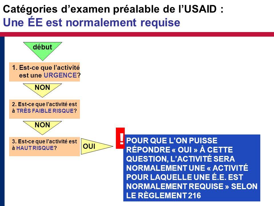 Catégories dexamen préalable de lUSAID : Une ÉE est normalement requise 1. Est-ce que lactivité est une URGENCE? NON 2. Est-ce que lactivité est à TRÈ