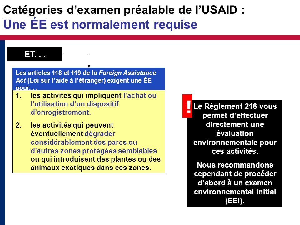 Catégories dexamen préalable de lUSAID : Une ÉE est normalement requise 1.les activités qui impliquent lachat ou lutilisation dun dispositif denregist