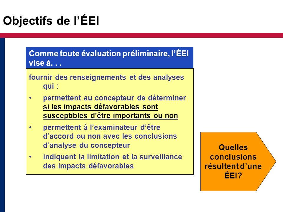 Objectifs de lÉEI fournir des renseignements et des analyses qui : permettent au concepteur de déterminer si les impacts défavorables sont susceptible