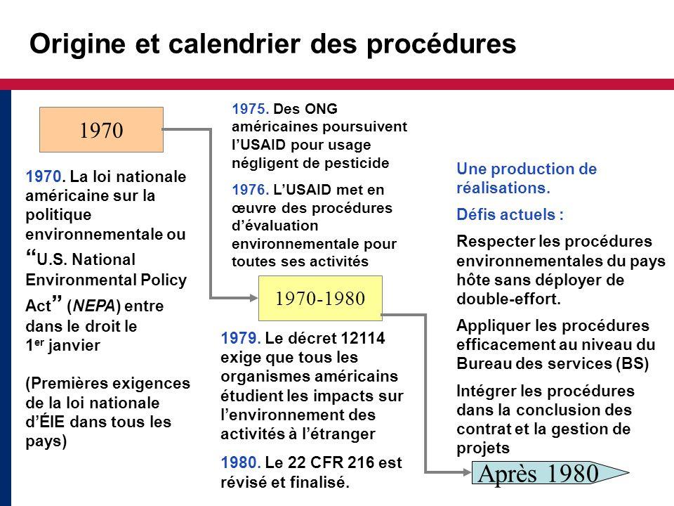 Objectifs des procédures Les procédures ont 2 principaux objectifs : Utiliser lÉIE pour mettre en œuvre une conception respectueuse de lenvironnement Satisfaire aux obligations juridiques de lUSAID et appliquer la NEPA Les procédures appuient aussi la transparence et limputabilité de lUSAID et de ses partenaires.