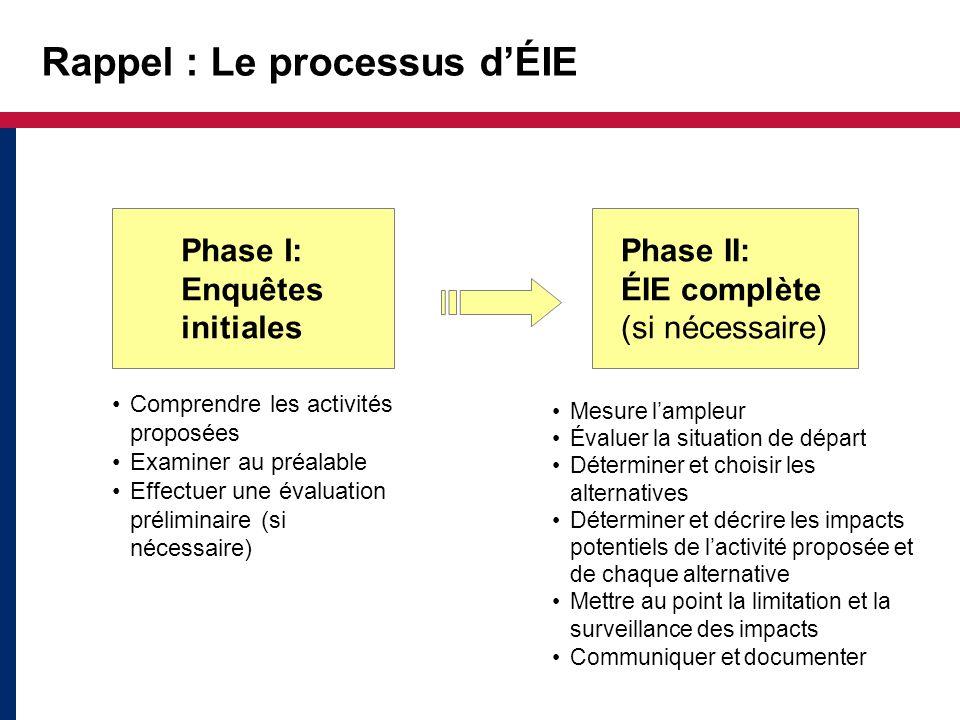 Rappel de la phase 1 : Enquêtes initiales Examiner lactivité Si on se base sur la nature de lactivité, quel niveau dexamen environne- mental est indiqué.