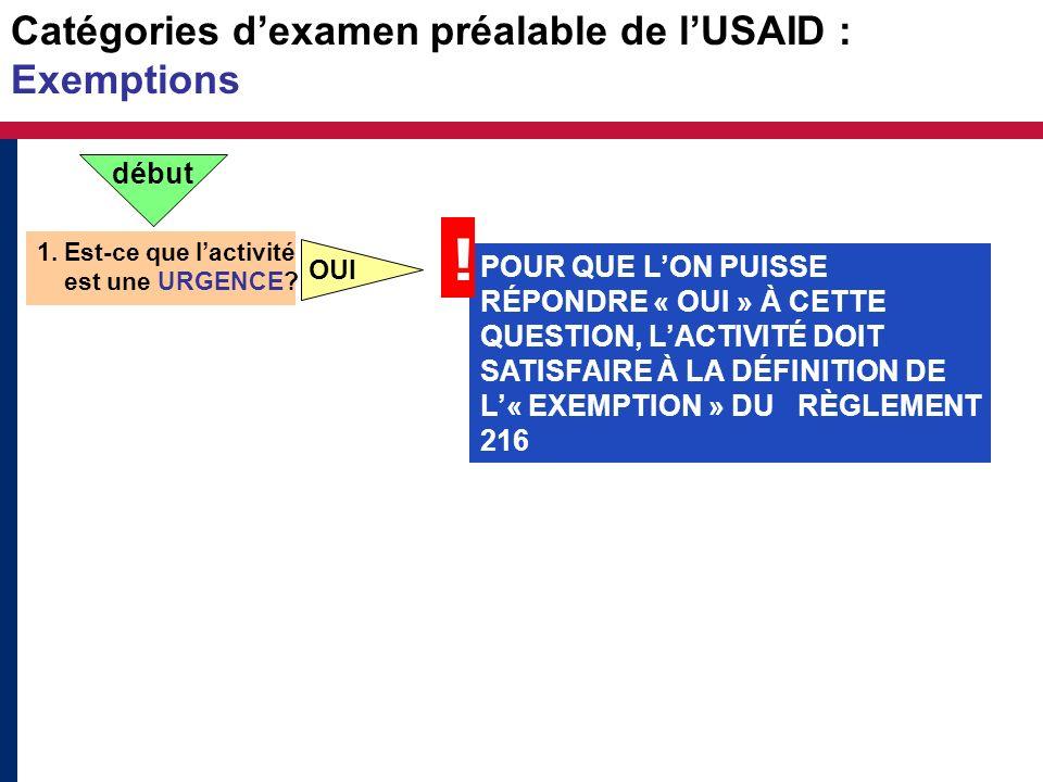 Catégories dexamen préalable de lUSAID : Exemptions Les activités « dexemption » ont souvent des impacts nocifs importants.