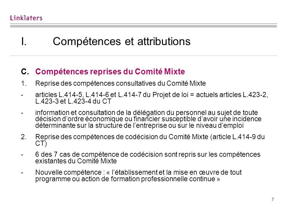 7 I. Compétences et attributions C.Compétences reprises du Comité Mixte 1.Reprise des compétences consultatives du Comité Mixte -articles L.414-5, L.4