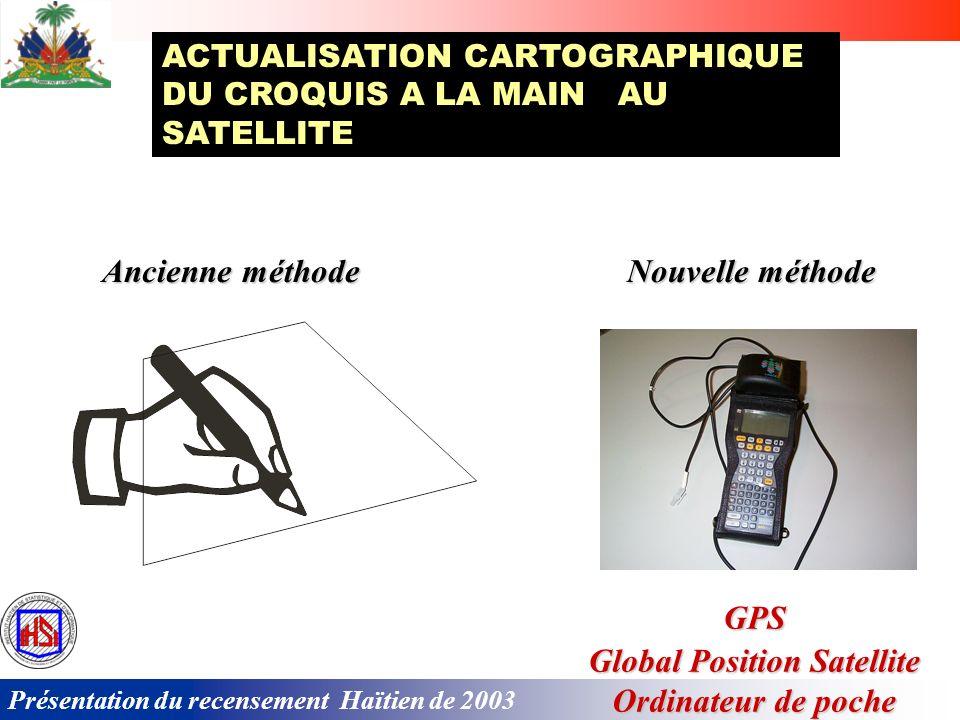 Présentation du recensement Haïtien de 2003 Pour la première fois en Haïti, la cartographie sest effectuée en utilisant les instruments les plus modernes: Global Positioning System (GPS); Base de données informatiques (BDI); Système dinformation géographique (SIG).