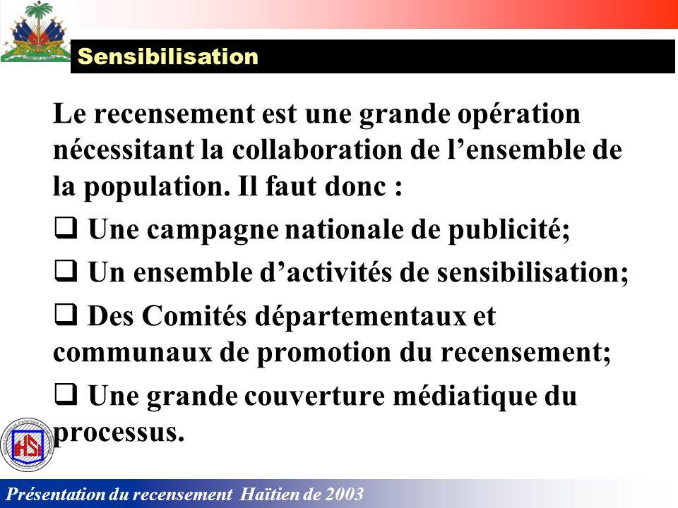 Présentation du recensement Haïtien de 2003 La planification de la logistique, laménagement des locaux, le choix et laménagement des locaux départemen