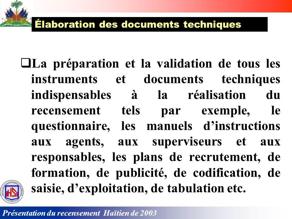 Présentation du recensement Haïtien de 2003 Le recensement est une grande opération nécessitant la collaboration de lensemble de la population. Il fau