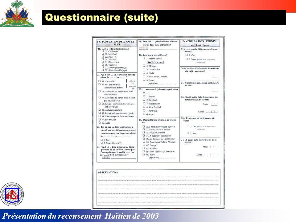 Présentation du recensement Haïtien de 2003 Questionnaire (suite)