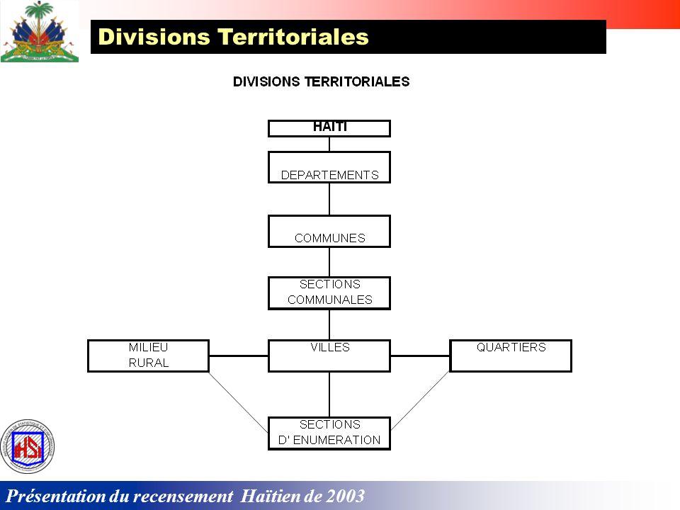 Présentation du recensement Haïtien de 2003 Divisions Territoriales