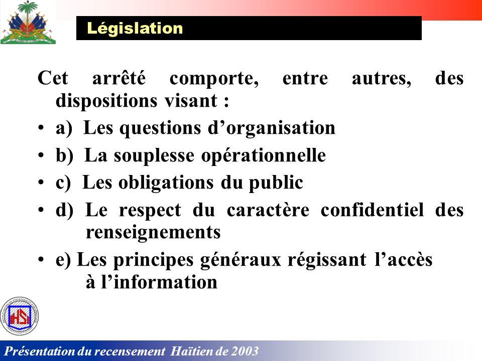 Présentation du recensement Haïtien de 2003 Cet arrêté comporte, entre autres, des dispositions visant : a) Les questions dorganisation b) La souplesse opérationnelle c) Les obligations du public d) Le respect du caractère confidentiel des renseignements e) Les principes généraux régissant laccès à linformation Législation
