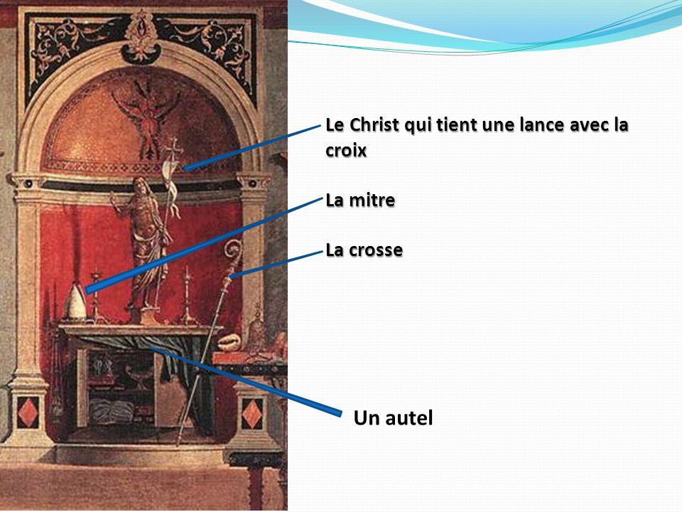 Le Christ qui tient une lance avec la croix La mitre La crosse Un autel