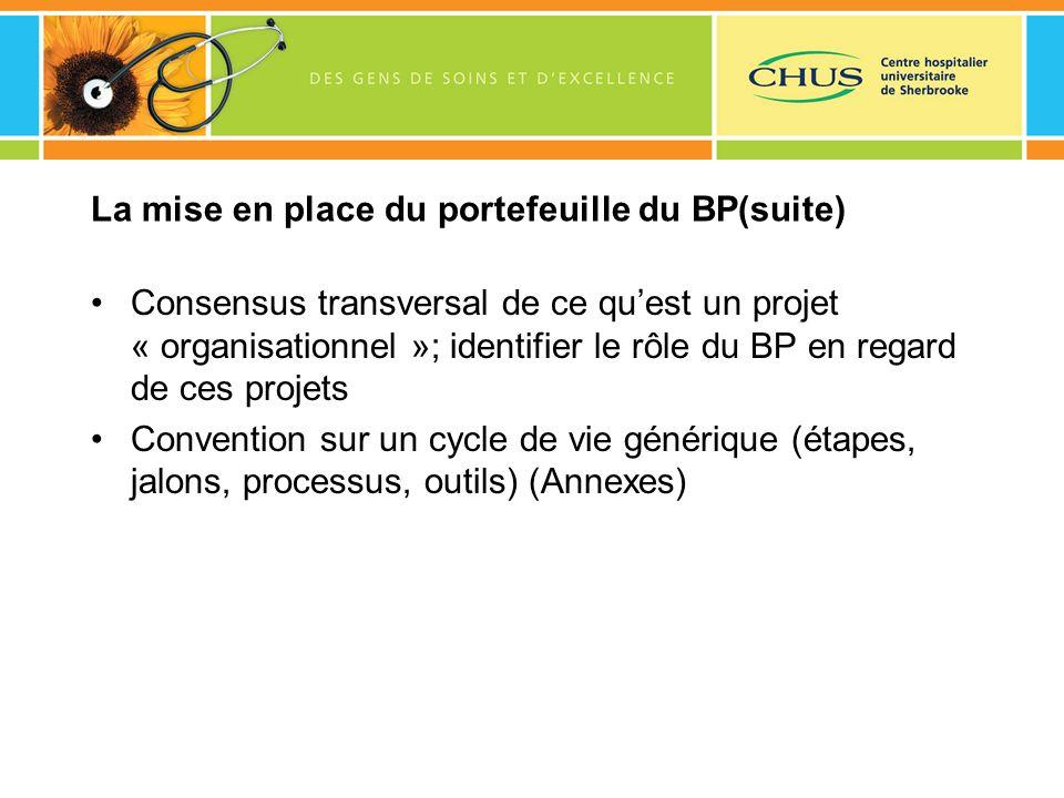 La mise en place du portefeuille du BP(suite) Consensus transversal de ce quest un projet « organisationnel »; identifier le rôle du BP en regard de c