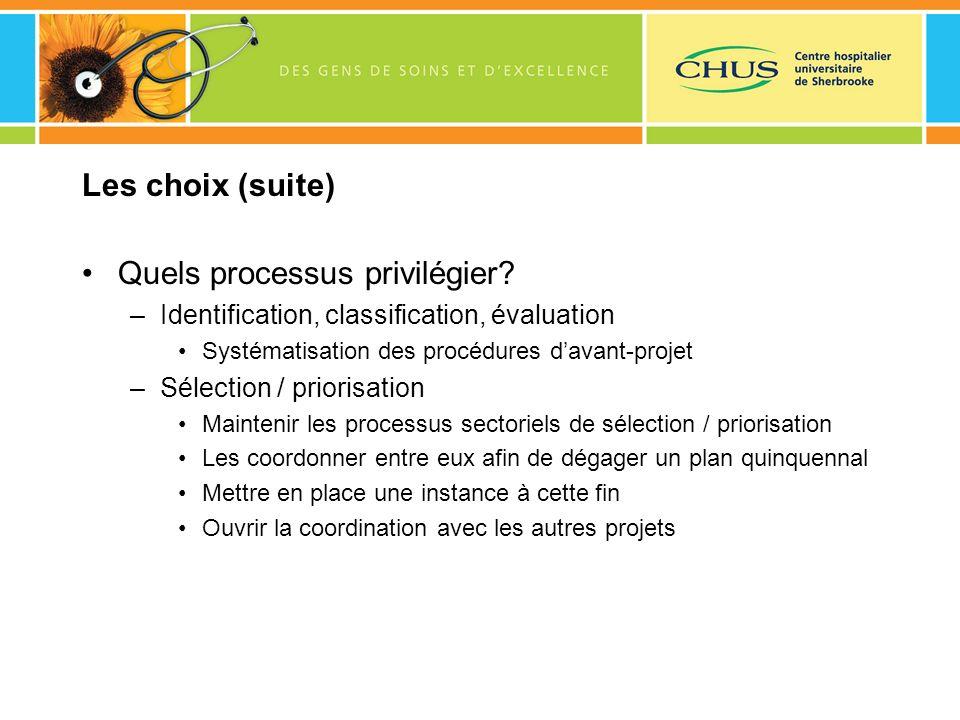 Les choix (suite) Quels processus privilégier? –Identification, classification, évaluation Systématisation des procédures davant-projet –Sélection / p