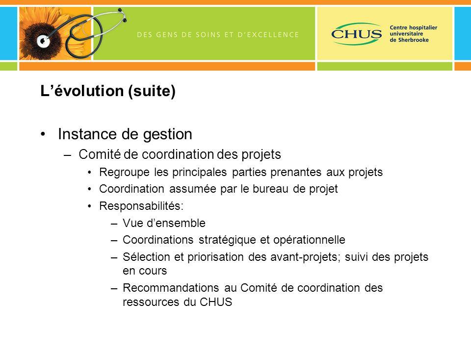 Lévolution (suite) Instance de gestion –Comité de coordination des projets Regroupe les principales parties prenantes aux projets Coordination assumée
