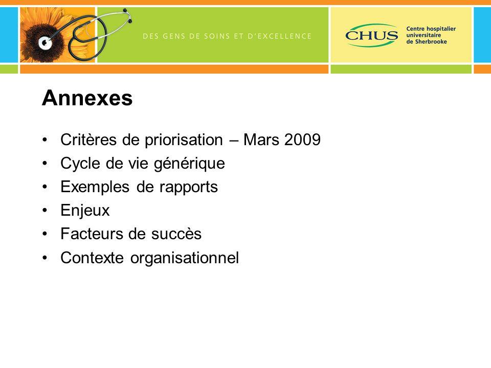 Annexes Critères de priorisation – Mars 2009 Cycle de vie générique Exemples de rapports Enjeux Facteurs de succès Contexte organisationnel