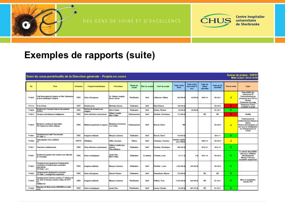 Exemples de rapports (suite)